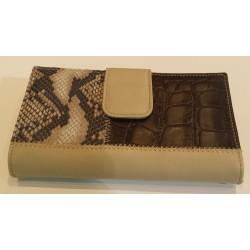 Billetero piel grabado coco y serpiente beig y marrón