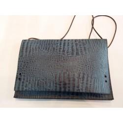 Cartera bolso azul coco piel cordon colgar